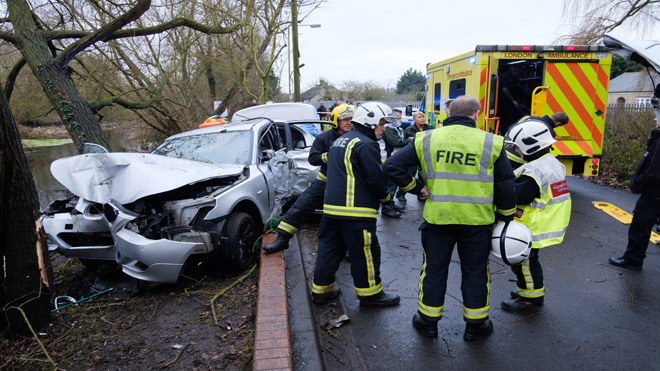 Firefighters at a road traffic collision