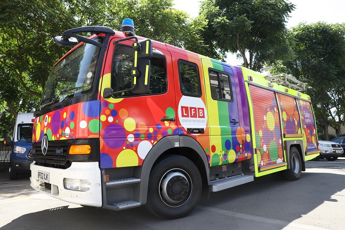 Rainbow Pride themed Fire Engine