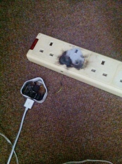 Burnt out faulty charger tweet pic