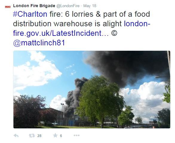 Tweet about the fire at Sainsbury's depot