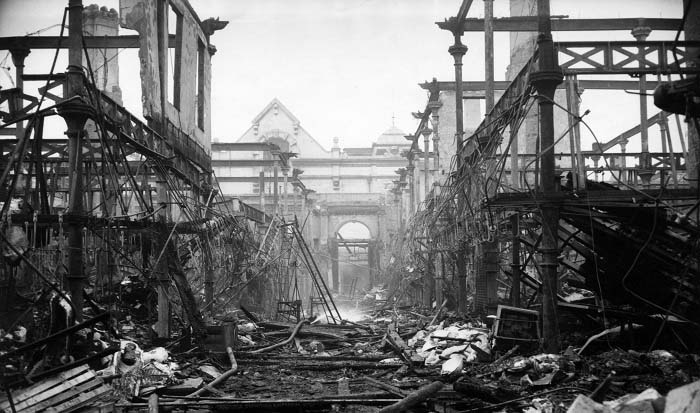 Black and white photograph of the damage from the Smithfield fire