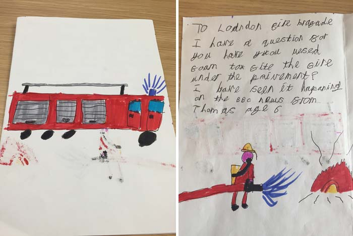 Child's drawing of a fire engine and a firefighter putting out a fire
