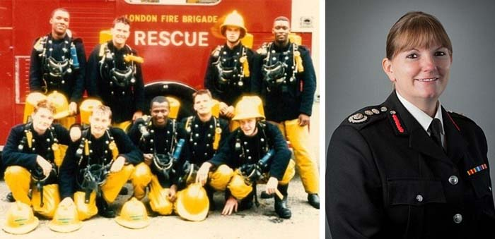One half of the image is of Dany Cotton when she first joined London Fire Brigade in 1989 with her crew alongside this is a recent photo of Dany in dress uniform