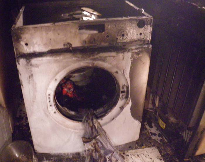 Washing machine in fire incident