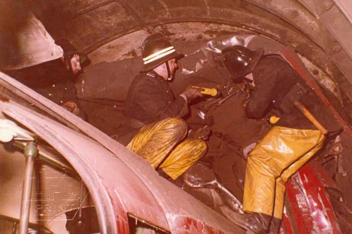 Historic Moorgate  underground  fire with Firefighters