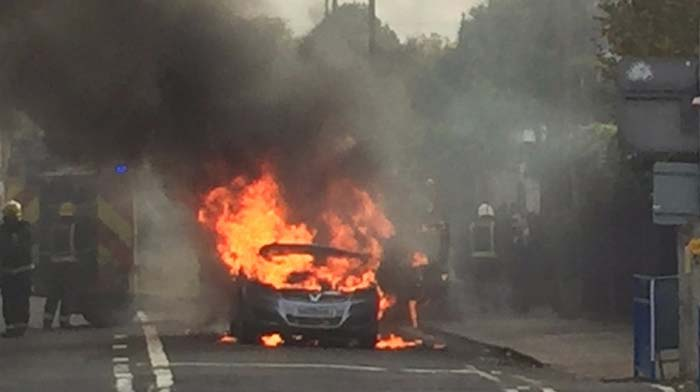 Vauxhall Zafira on fire