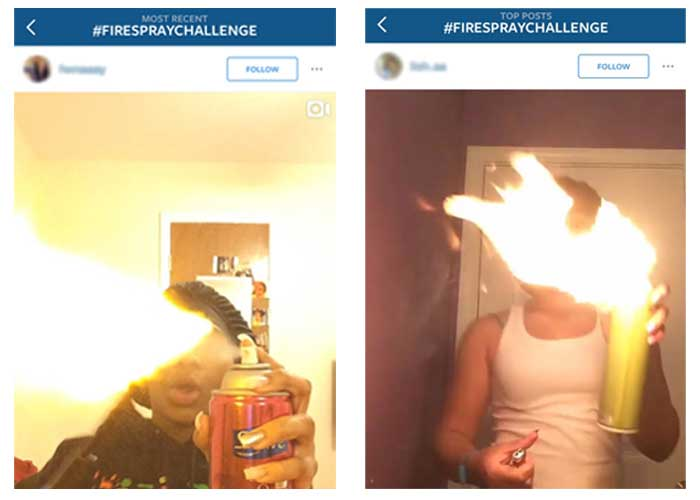 Two social media profiles with people spraying cans and setting fire to them