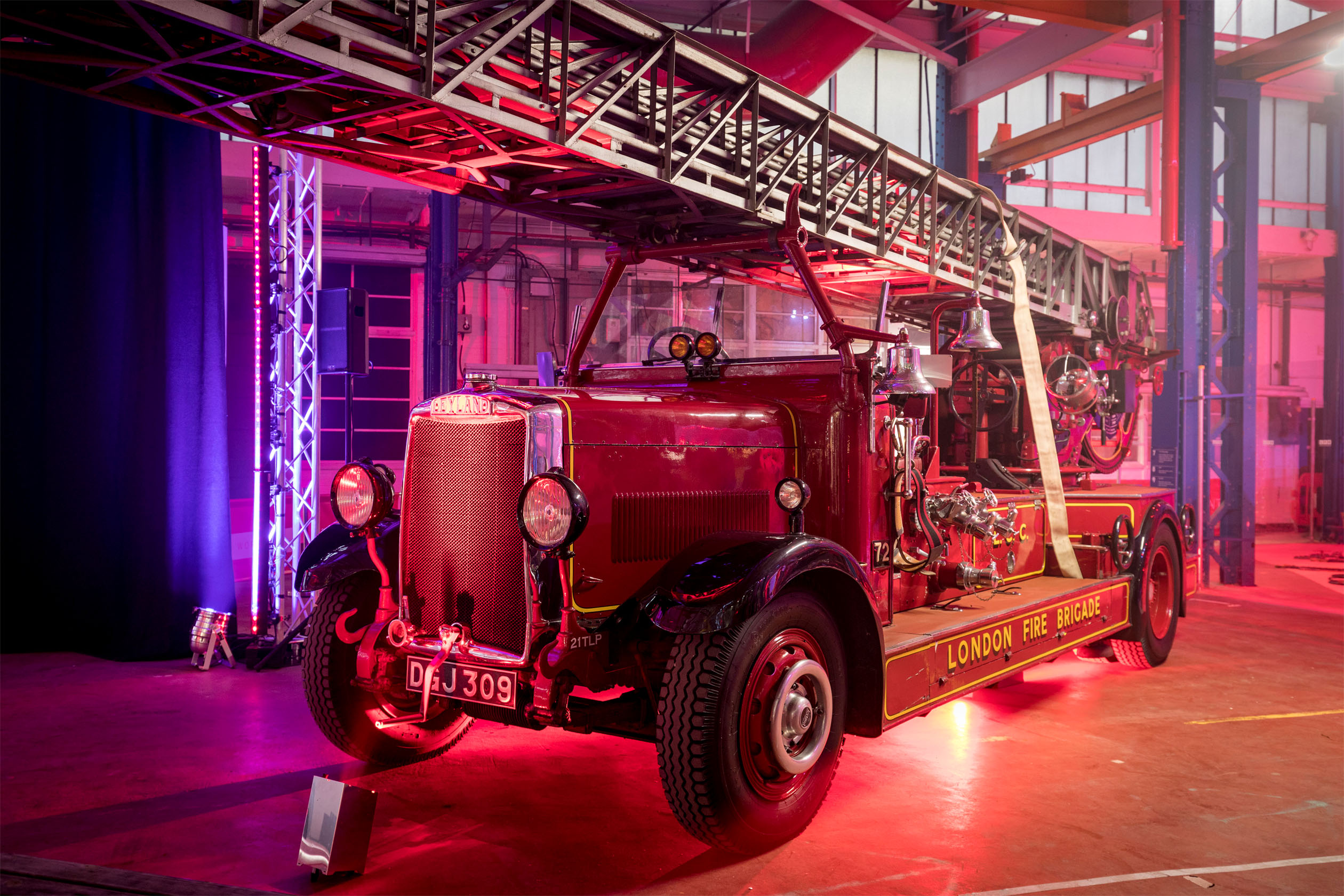 Vintage fire engine at the London Fire Brigade pop-up museum