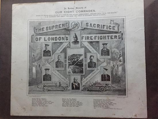 Historical image of memorial of dead firefighters