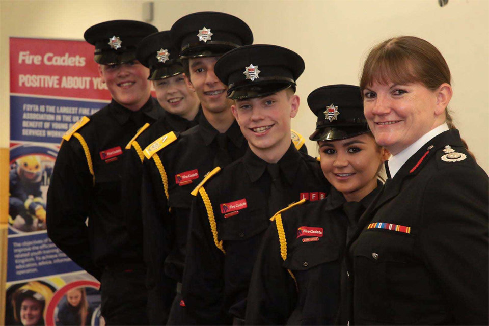 Dany Cotton with Fire Cadets