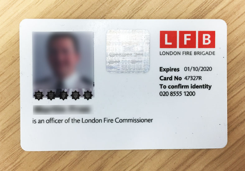 London Fire Brigade identification card