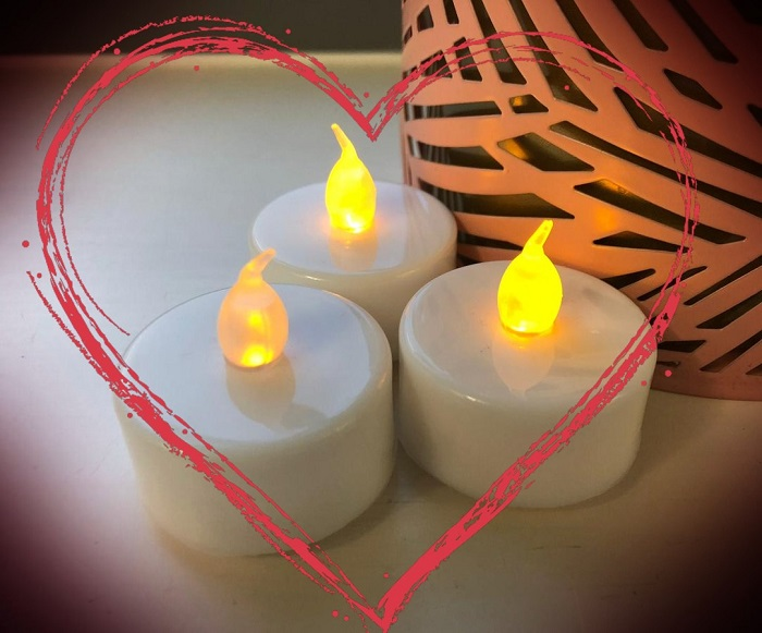Led Candles in heart shape
