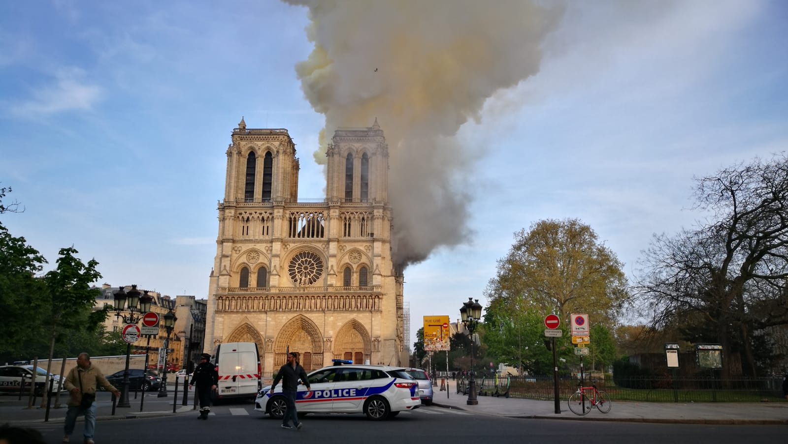 A fire at Notre Dame in Paris, 2019